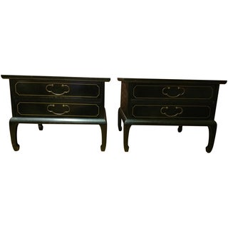 Am. Of Martinsville Black Lacquer Tables - Pair