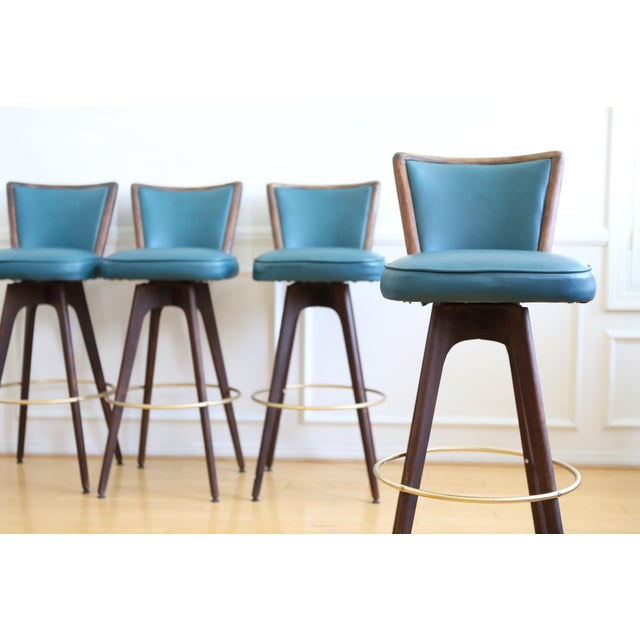 Mid Century Modern Vintage Swivel Bar / Counter Stools - Set of 4 - Image 9 of 9