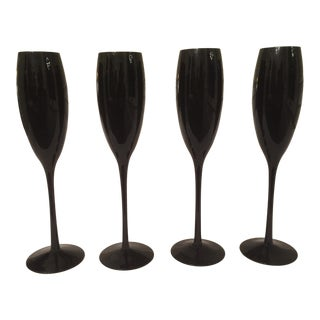 Black Oynx Fluted Champagne Glasses - Set of 4