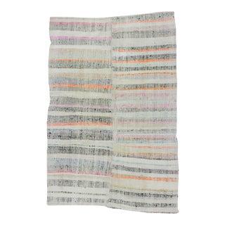 Striped Vintage Turkish Rag Rug - 6′4″ × 9′7″