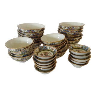 Asian Bowls, Tea Cups, and Sauce Bowls - Set of 32