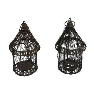 Vintage Bird Cage Candle Holders - A Pair