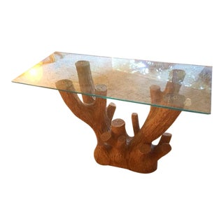 Faux Log & Glass Side Table