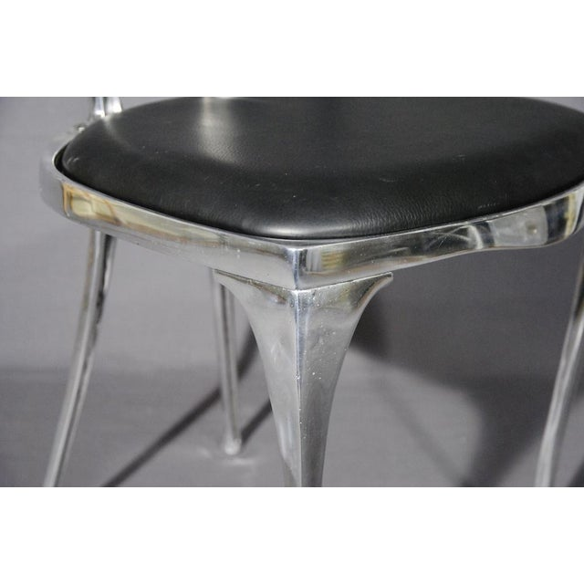 Polished Aluminum & Leather Thinline Chairs - Set of 4 - Image 4 of 4