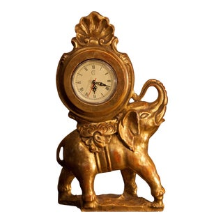 Gilt Hand Carved Elephant Clock