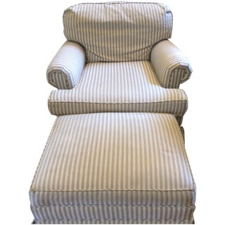 Lee Industries Striped Chair & Ottoman Set