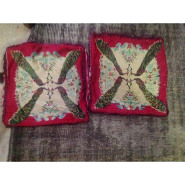 Antique Silk Velvet Persian Peacock Pillows - Pair - Image 2 of 11