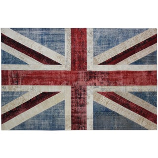 "Hand Knotted Patchwork Flag Rug - 9'8"" x 6'6"""