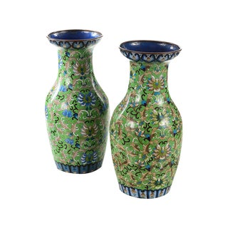 Antique Chinese Green Cloisonné Vases - A Pair