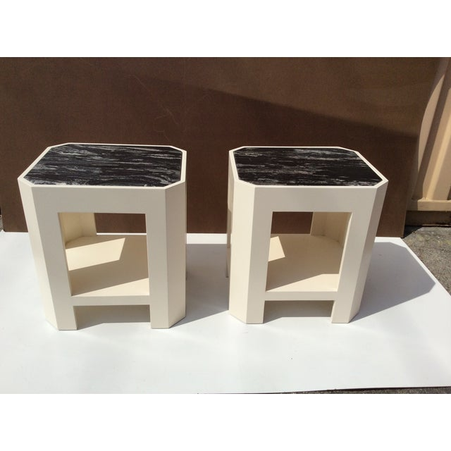 Black Marble Top Side Tables - A Pair - Image 3 of 11