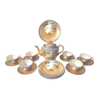 1940s Japanese Floral Lusterware Tea Service - Set of 19
