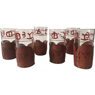 Cowboy Glasses with Leather Holsters - Set of 6