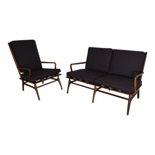 Danish Modern Walnut Loveseat and Lounge Chair
