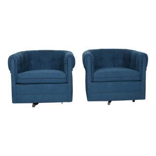 Milo Baughman Tufted Swivel Chairs - A Pair