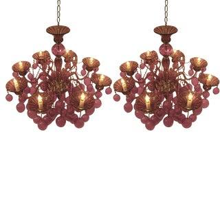 Pair of Italian Mid-Century Style Murano Glass Chandeliers