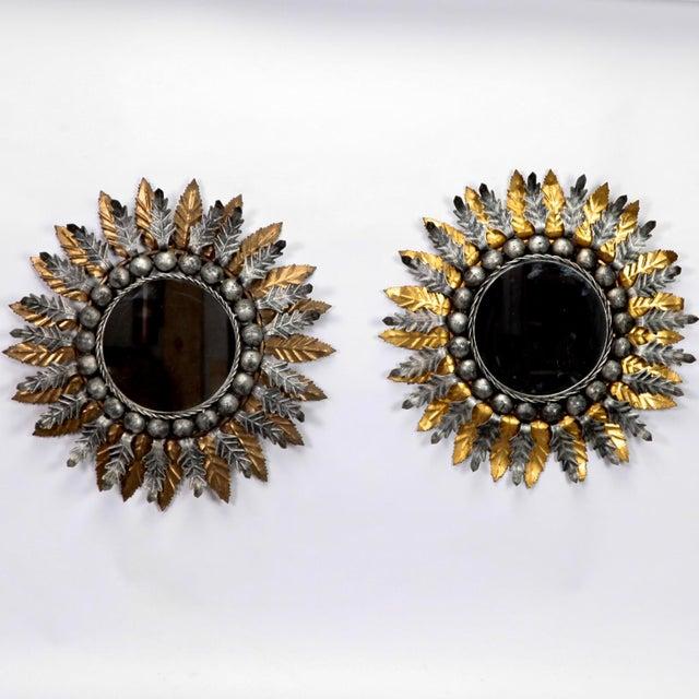 Pair Mid Century Spanish Gilt and Silver Metal Sunburst Mirrors - Image 2 of 9