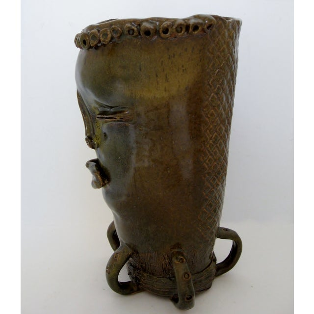 Olive & Brown Artisan Ceramic Vase - Image 4 of 8