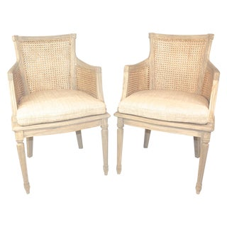 Double Cane Directoire Chairs - A Pair