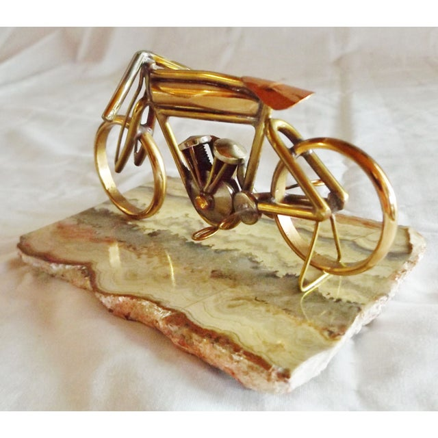 Image of Brass Motorcycle Sculpture Cyclone Racer
