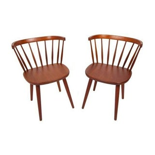 Swedish Teak Spindle Back Chairs - A Pair