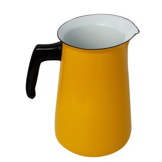 Mid-Century Yellow Enamel Pitcher, Black Handle