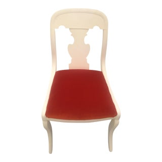 Restored Orange Velvet Chippendale Chair