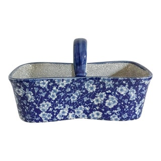 Blue & White Chintzware Floral Ceramic Basket