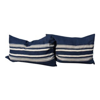 African Mud Cloth Navy Stripe With Linen Pillows - A Pair