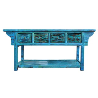 Chinese Rustic Distressed Blue & Green Console Table
