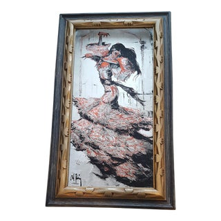 Vintage Alberto Ruiz-Vela Flamenco Dancer Painted Mirror