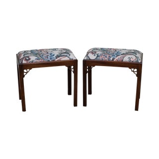 Solid Mahogany Chippendale Style Benches or Stools - A Pair