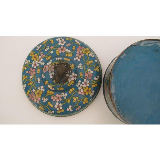Image of Antique Cloisonne Box Green & Cobalt Blue