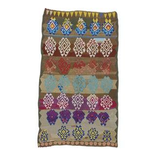 "Vintage Colorful Handwoven Turkish Kilim Rug - 5'1"" X 8'4"""