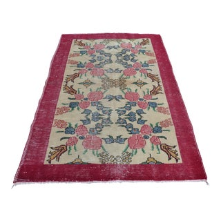 Floral Turkish Rug - 4′7″ × 7′