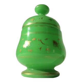 Green Opaline Jar With Gilt Decoration