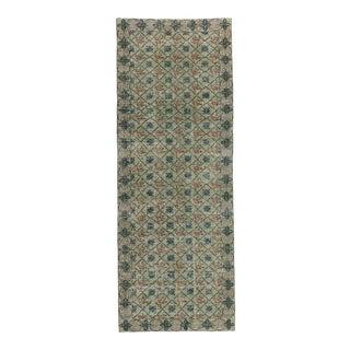 Vintage Handknotted Decorative Green Turkish Rug - 4′9″ × 12′9″