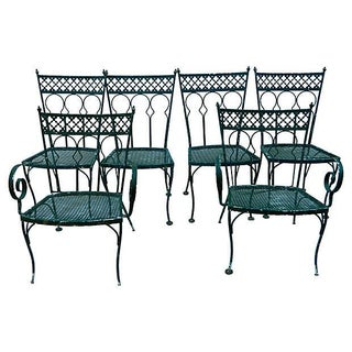 Wrought Iron Garden Chairs - Set of 6