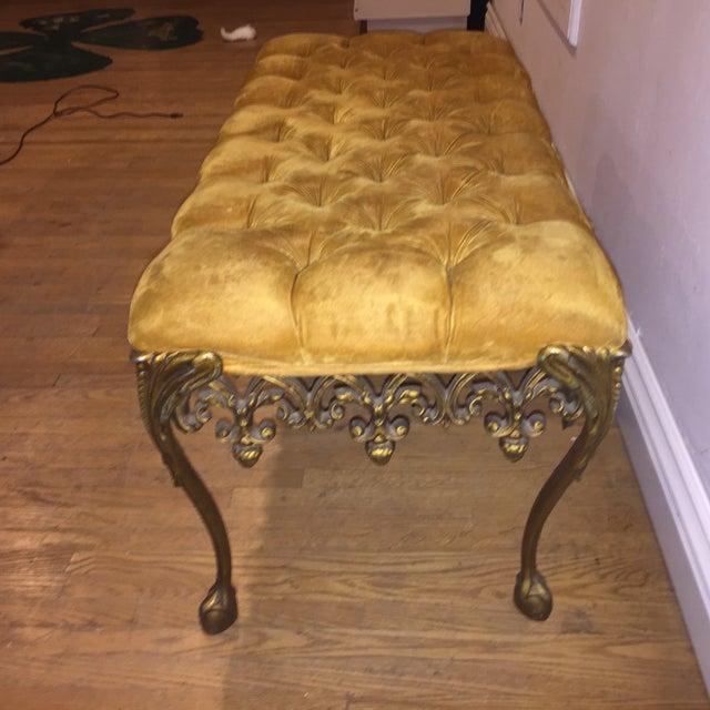 Image of Hollywood Regency Tufted Velvet Parlor Bench