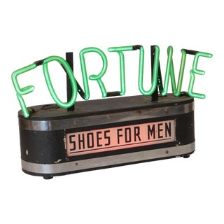 Vintage Machine Age Art Deco 1940's Fortune Shoes Neon Advertising Sign