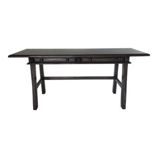 Custom Walnut Wood Desk With Drawers