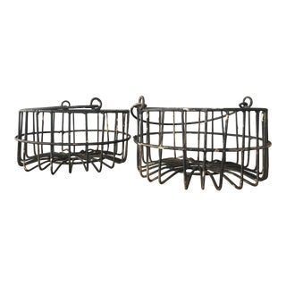 Rustic Metal Round Baskets - A Pair