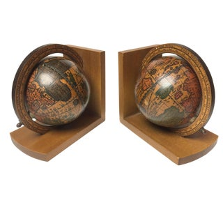 Mid-Century Italian Wooden Globe Bookends - A Pair