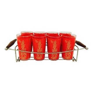 Vintage Cocktail Glasses in Caddy - Set of 9