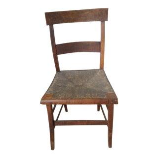 C. 1800 Primitive American Tiger Maple Rush Chair