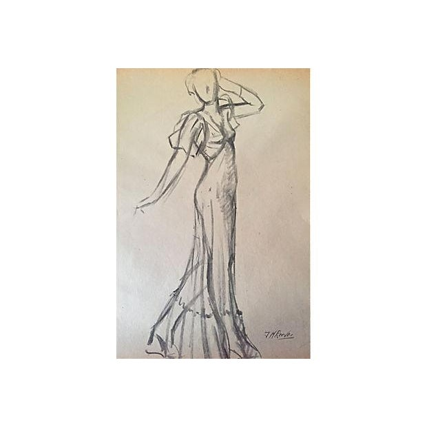 Vintage Fashion Study Drawing by J. Mason Reeves - Image 1 of 4