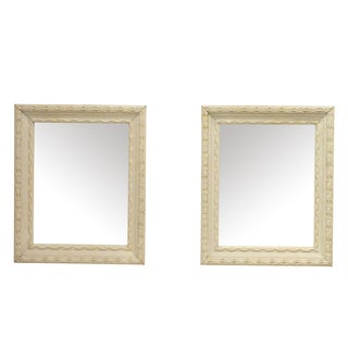 Vintage White Pie Crust Mirrors - A Pair