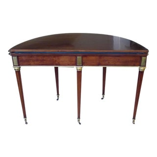Elegant Pair of Baltic Directoire Hinged-Top Demilune Mahogany Game Tables