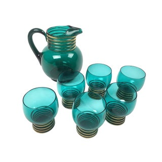 Turquoise and Gold Pitcher and Glass Set - Set of 7