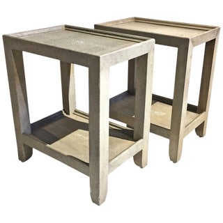 Garrison Rousseau Shagreen Side Tables - A Pair