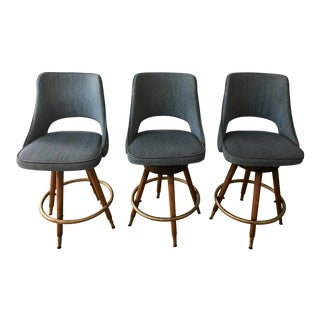 Vintage Mid-Century Modern Counter Stools- Set of 3